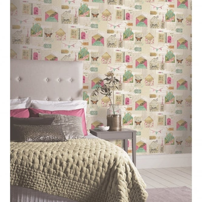 Arthouse PS I Love You Letter Pattern Heart Butterfly Motif Wallpaper 671200