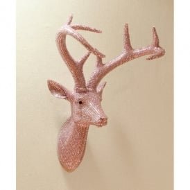 Arthouse Star Studded Stag Head Diamante Deer Mountable Wall Art Pastal Pink 008213