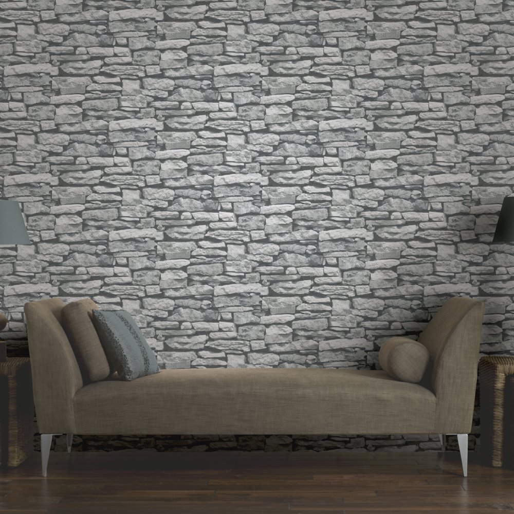 Arthouse vip moroccan stone wall brick photographic for Wallpaper for walls