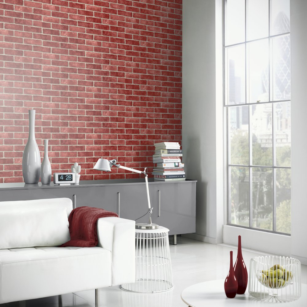 Red Brick Wall Decor : Arthouse vip red brick wall pattern faux stone effect