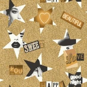 Arthouse VIP Starlight Star Pattern Heart Motif Gold Wallpaper 665402