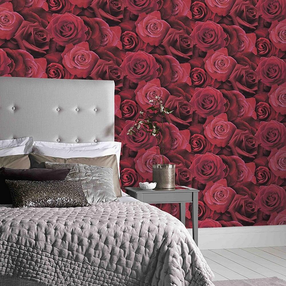 Austin Rose Pattern Wallpaper Floral Flower Petal Photographic Motif 675600