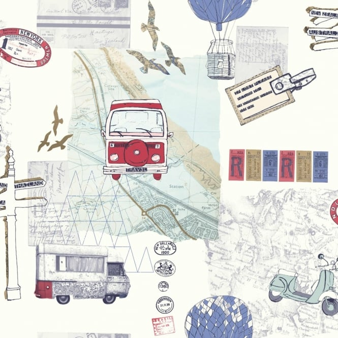 Arthouse Backpacker Travel Motif Map Postcard Campervan Wallpaper 889700