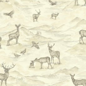 Arthouse Bancroft Vintage Watercolour Stag Deer Countryside Wallpaper 256300