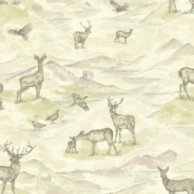 Arthouse Bancroft Vintage Watercolour Stag Deer Countryside Wallpaper 256302
