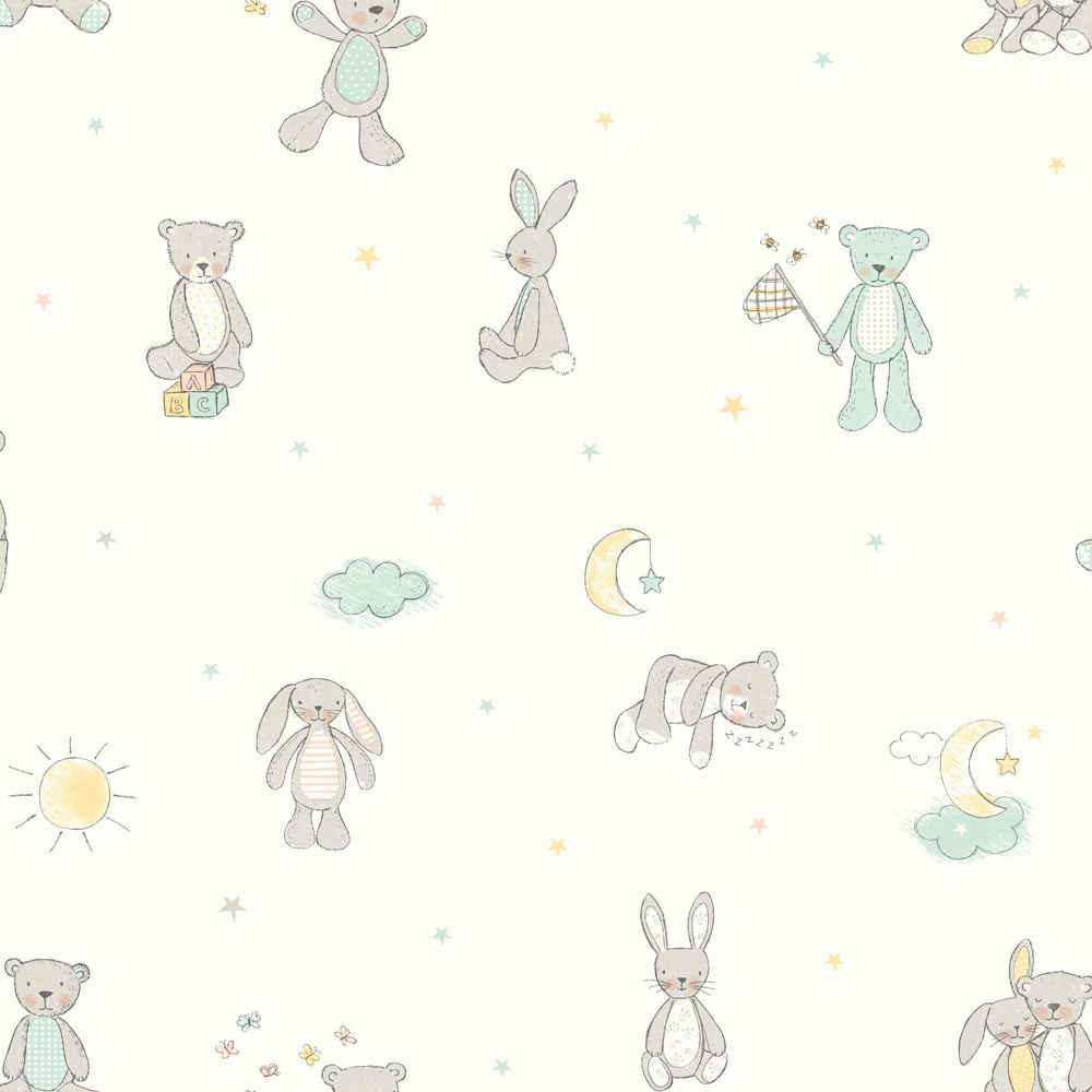 Arthouse Bear Hugs Teddy Bear Pattern Stars Moon Nursery Childrens Wallpaper  667400