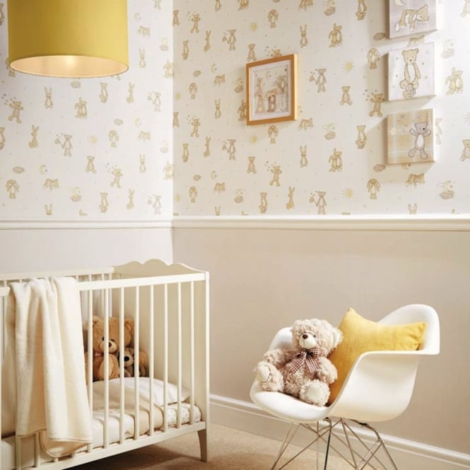 Arthouse Bear Hugs Teddy Bear Pattern Stars Moon Nursery Childrens Wallpaper 667401