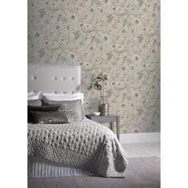 Botanical Songbird Detailed Bloom Flower Leaf Pattern Print Wallpaper 676000