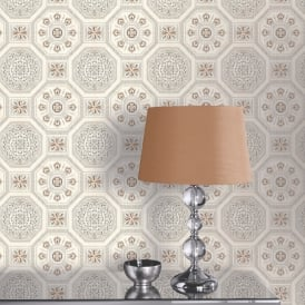 Arthouse Brasillia Tile Pattern Wallpaper Modern Geometric Metallic Motif 690502
