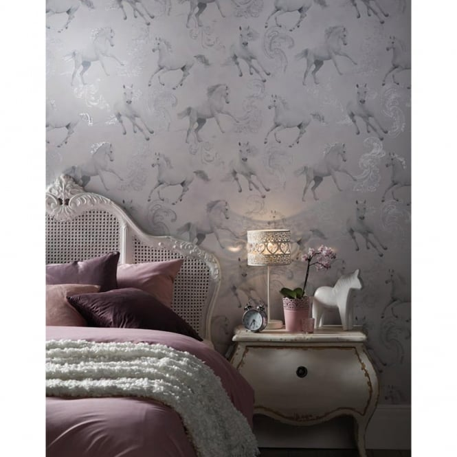 Arthouse Carmarillo Horse Pattern Silver Glitter Childrens Wallpaper 667300