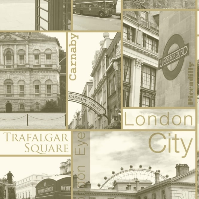 Arthouse Carnaby Sepia Vintage London Photo Motif Gold Wallpaper 888501