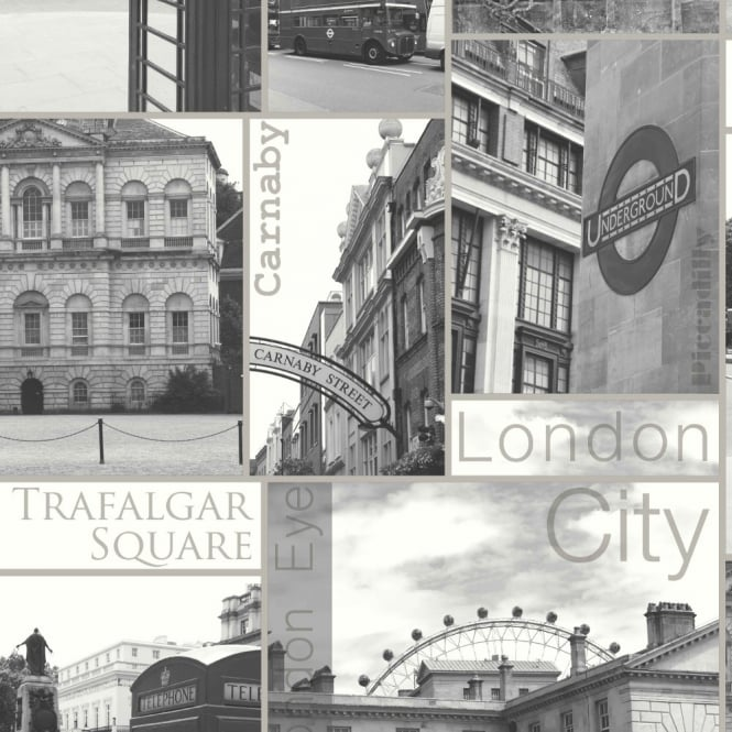 Arthouse Carnaby Sepia Vintage London Photo Motif Silver Wallpaper 888500