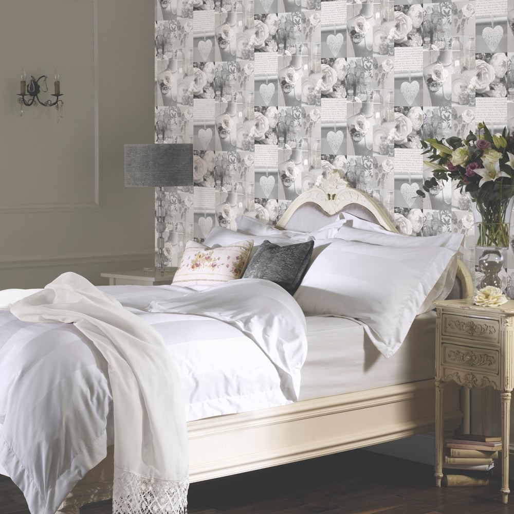 Arthouse charlotte grey rose pattern heart photographic for Pink and grey bedroom wallpaper