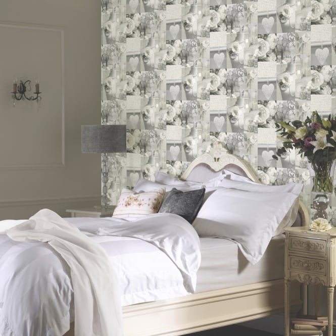 Arthouse Charlotte Neutral Rose Pattern Heart Photographic Wallpaper 665203