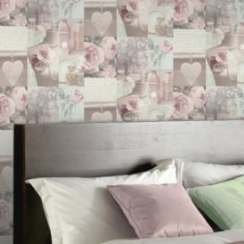 Arthouse Charlotte Pink Rose Pattern Heart Photographic Wallpaper 665200