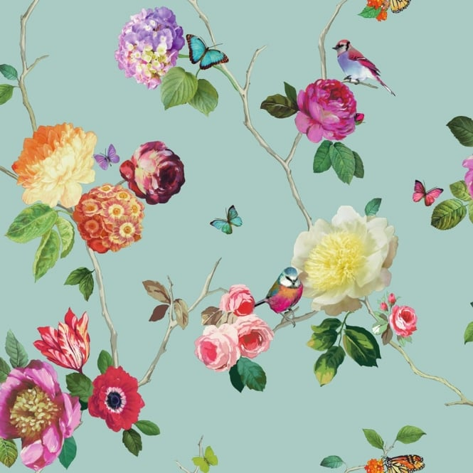 Arthouse Charmed Flower Pattern Bird Butterfly Rose Floral Motif Wallpaper 889800