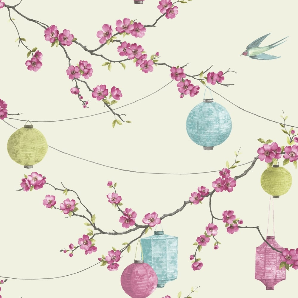 Arthouse Chinese Garden Blossom Pattern Wallpaper Floral Bird