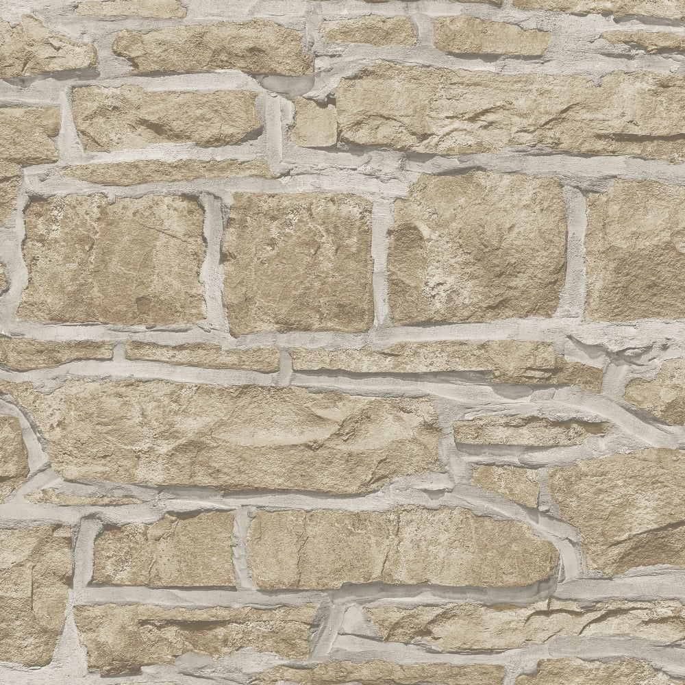 Arthouse Church Stone Pattern Wallpaper Faux Textured ...