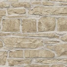 Arthouse Realistic Granite Brick Stone White Cream Rustic Wallpaper 901809