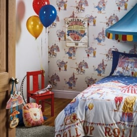 Arthouse Circus Fun Single Duvet Set Quilt Cover Bedding Pillow Case Elephant Lion