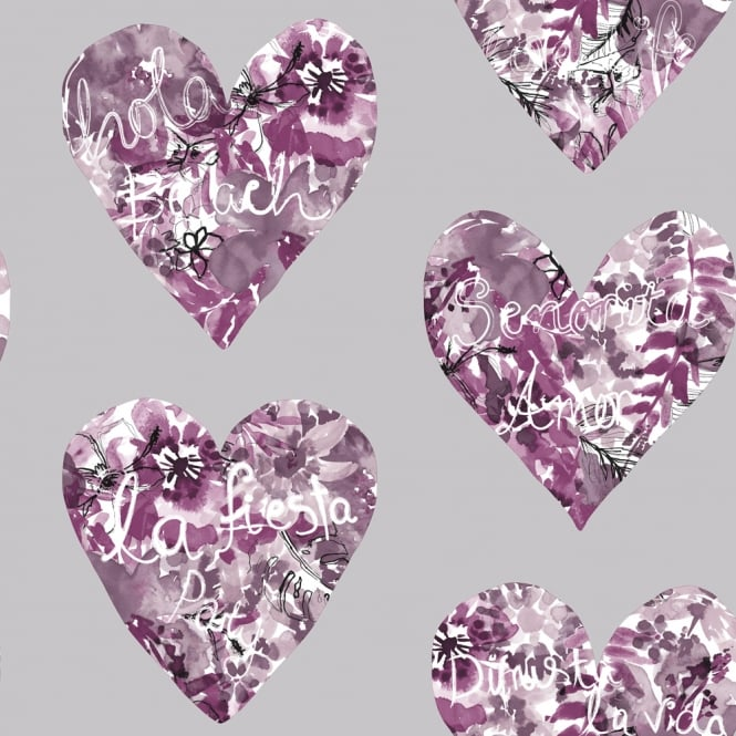 Arthouse Clara Heart Pattern Wallpaper Modern Floral Flower Metallic Motif 675501