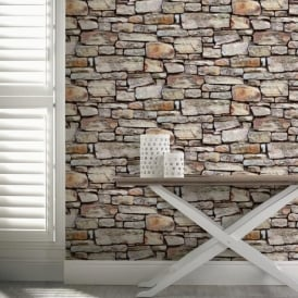 Arthouse Cornish Stone Pattern Wallpaper Faux Effect Realistic Rustic Brick 668900