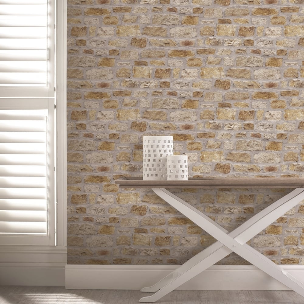 Arthouse Country Stone Pattern Wallpaper Faux Effect Brick Realistic 696500