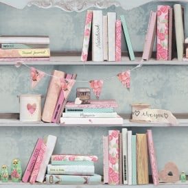 Arthouse Curious Book Shelf Pattern Wallpaper Pink Rose Heart Motif 694000