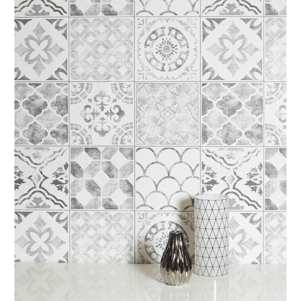Diamond Tile Glitter Vinyl Moroccan Motif Shimmer Effect Wallpaper 905006