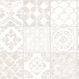 Neutral Moroccan Tile Design Grandeco Wallpaper Luxury Porto Tile A22902