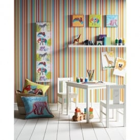 Arthouse Earn Your Stripes Striped Pattern Rainbow Childrens Wallpaper 668702