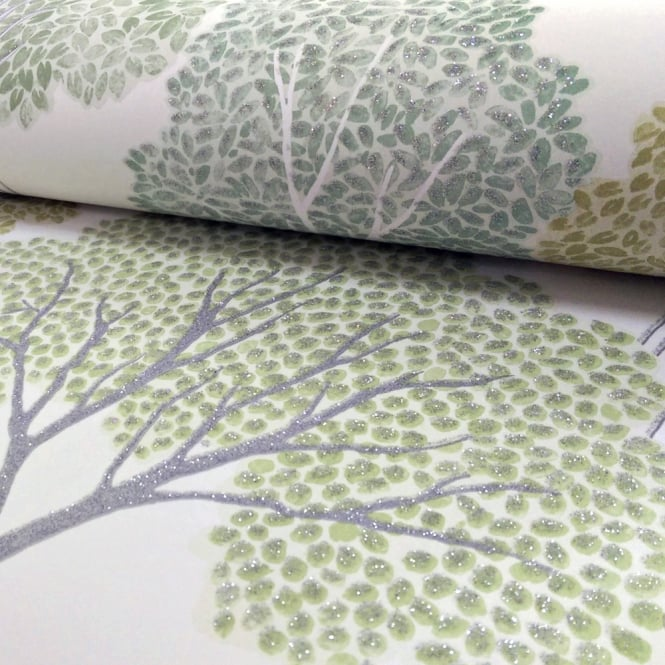 Arthouse Ellwood Tree Pattern Forest Leaves Motif Glitter Wallpaper 670004