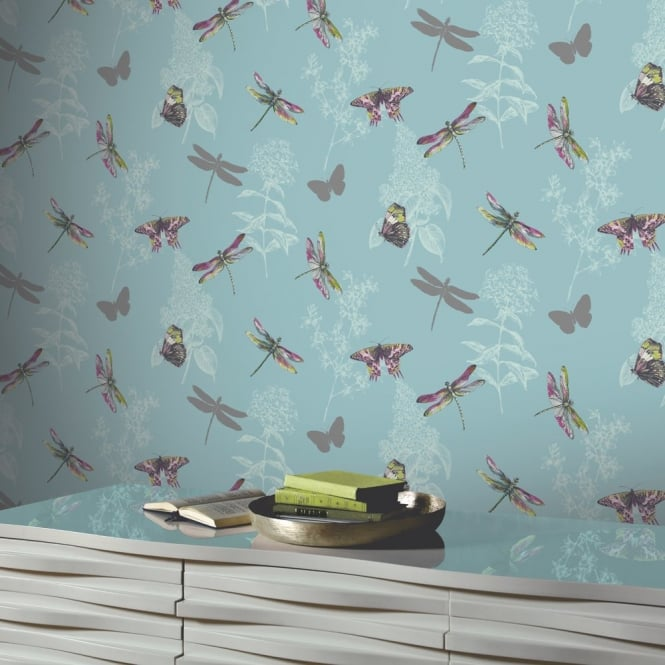 Arthouse Enchanted Wings Floral Pattern Butterfly Dragonfly Motif Wallpaper 664902