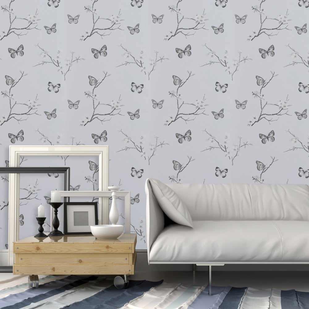 Exclusive Carrie Blossom Grey Butterfly Motif Smooth Flower Pastel Wallpaper 901608