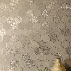 Foil Honeycomb Champagne Metallic Textured Contemporary Wallpaper 294701