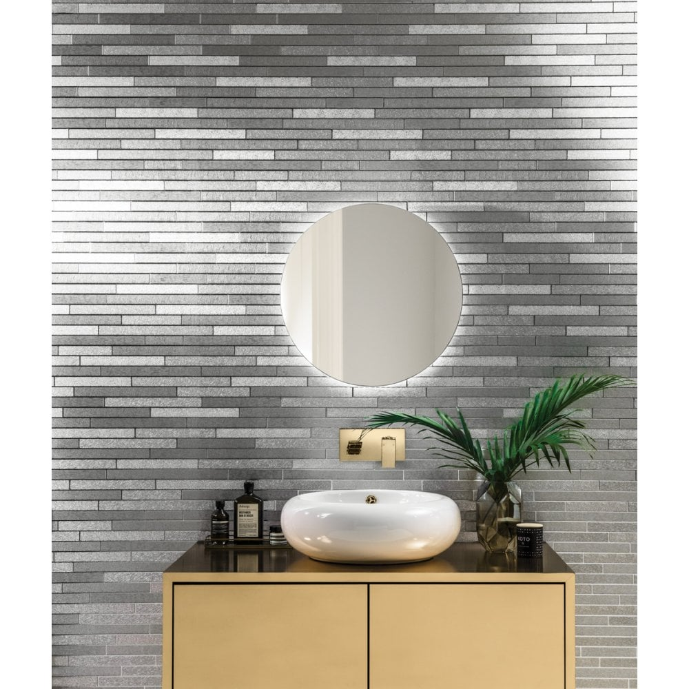 Kitchen Wallpaper Tile Effect: Arthouse Foil Slate Silver Brick Effect Metallic Silver