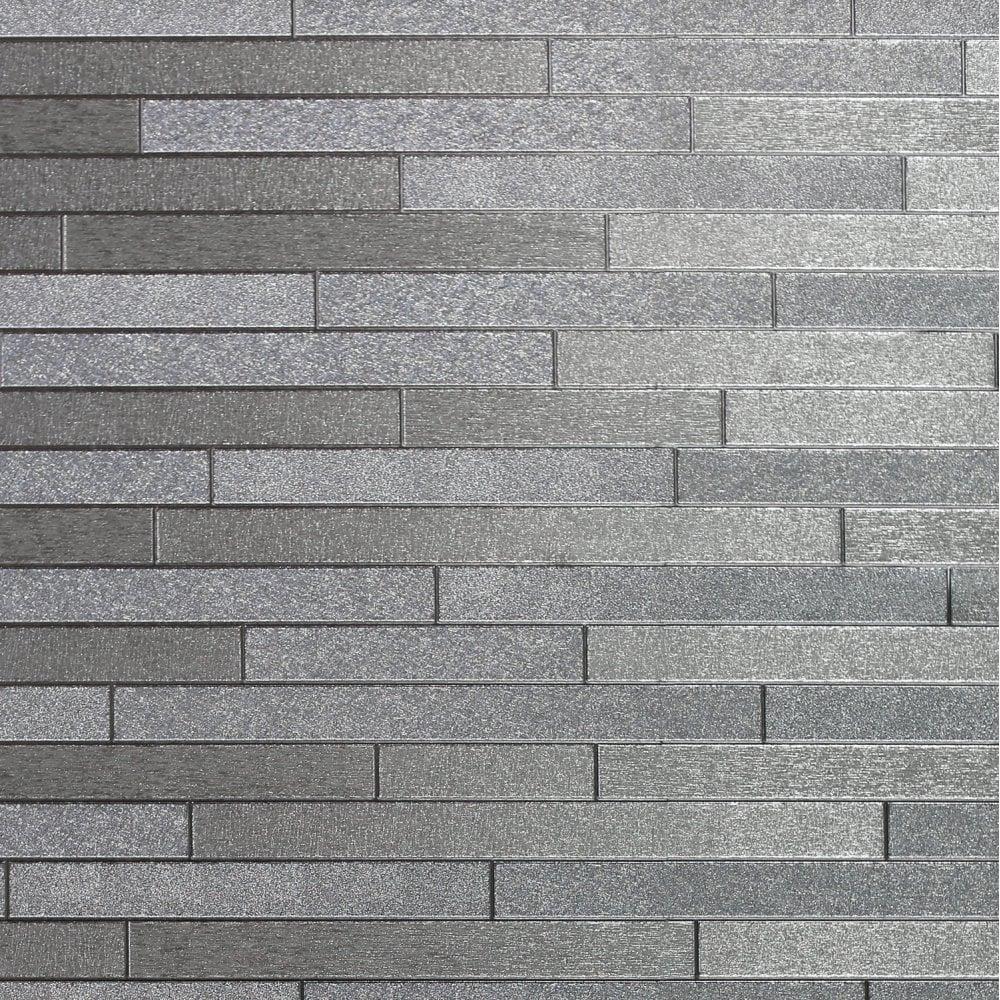 Foil Slate Silver Brick Effect Metallic Silver Textured Bathroom Kitchen Wallpaper 294600