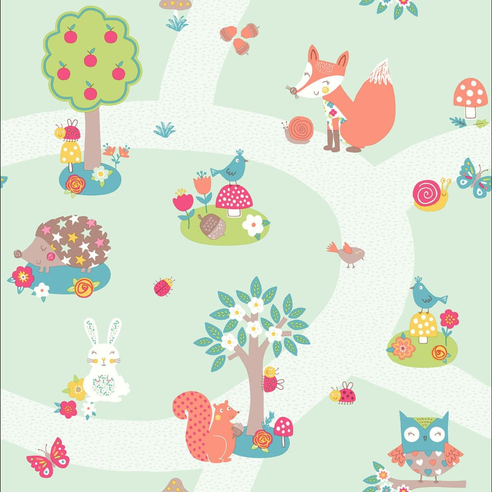 Kids Wallpaper: Arthouse Forest Friends Animals Bird Pattern Cartoon