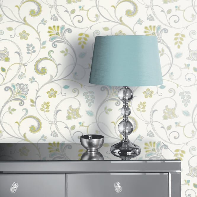 Arthouse Freya Paisley Pattern Wallpaper Modern Floral Motif Metallic 693101