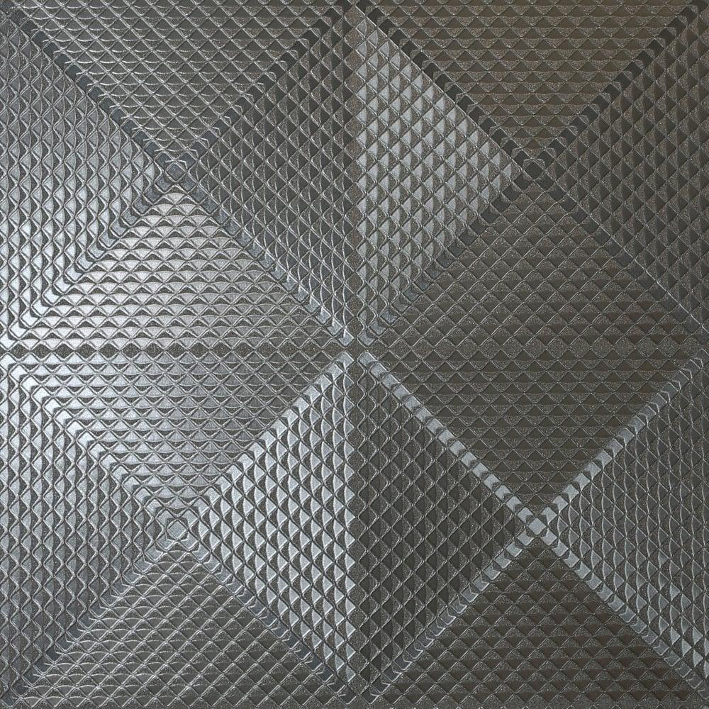 Arthouse Geo Gunmetal Metallic Foil Textured Squares Pattern 3d Effect Illusion Wallpaper 903301