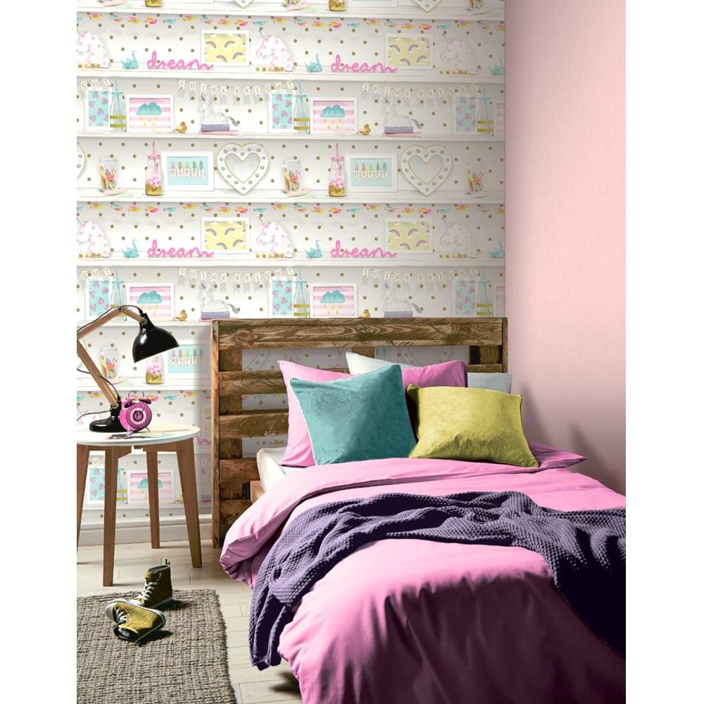 Arthouse Girls Life Childrens Wallpaper Polka Dot Pattern Heart