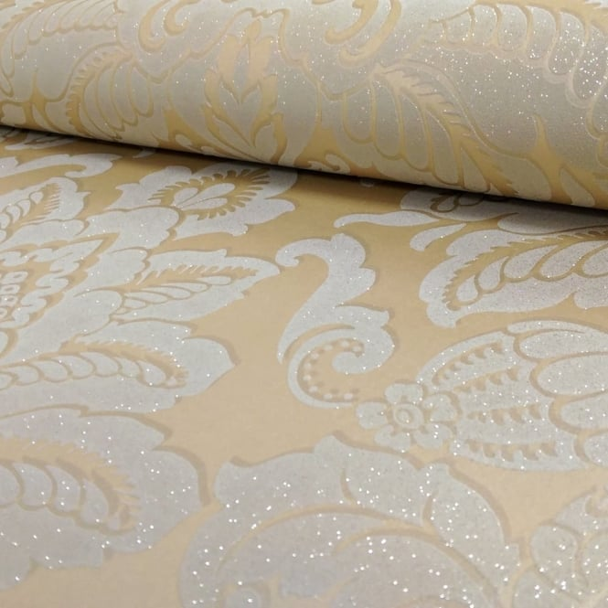 Arthouse Glisten Damask Pattern Floral Metallic Glitter Wallpaper 673200