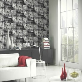 Arthouse Glitter London Motif Black White Photo Mural Wallpaper 650700