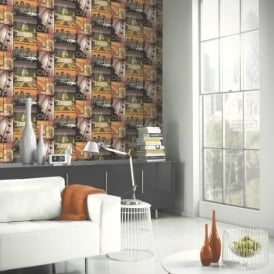 Arthouse Glitter London Motif Yellow Gold Photo Mural Wallpaper 650701