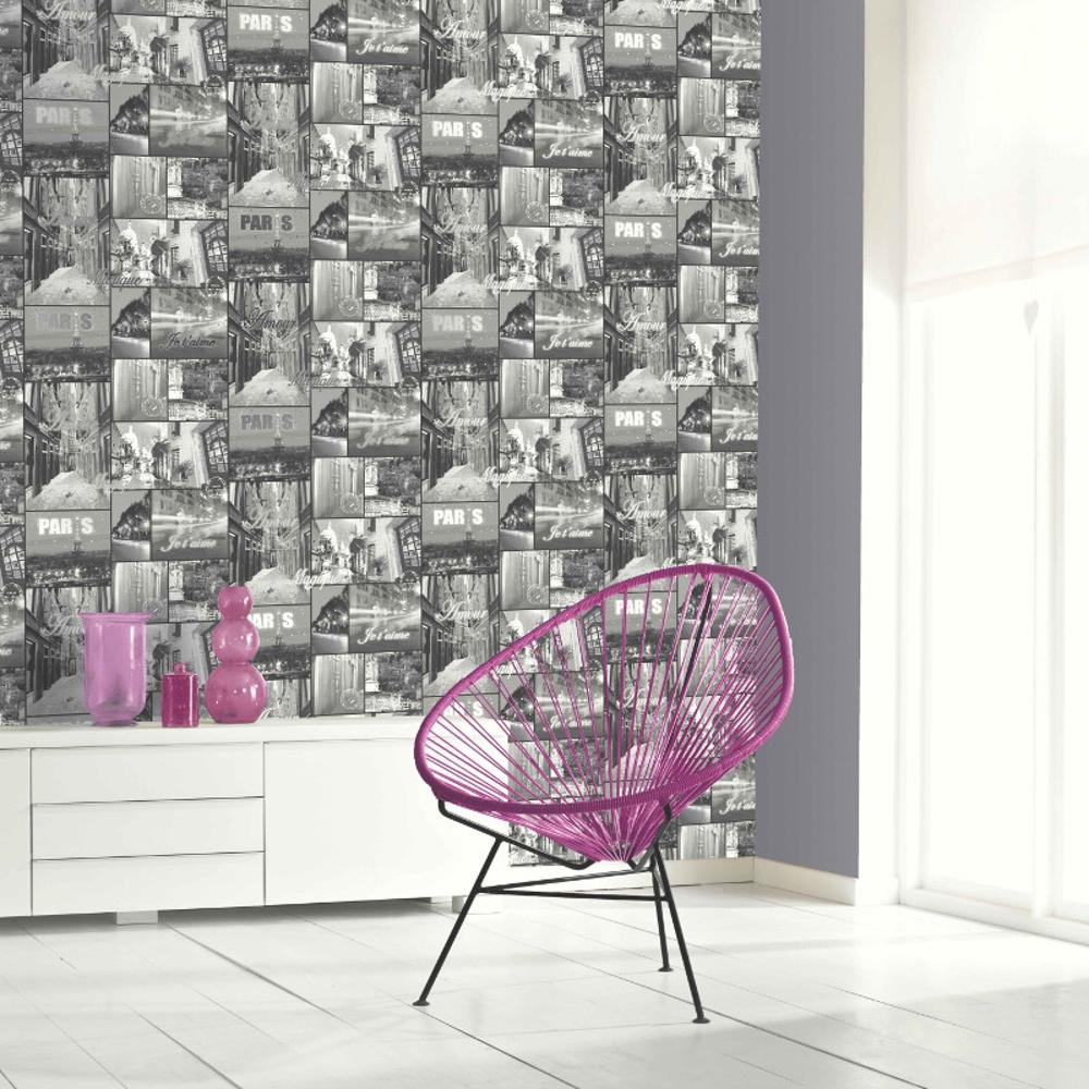 Glitter Paris Motif Black White Photo Mural Wallpaper 650702