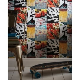 Arthouse Graffiti Pattern Brick Wall Photo Mural Tag Teenager Wallpaper 668301