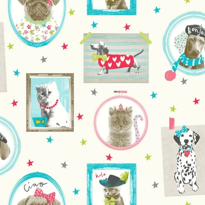 Arthouse Hall Of Fame Picture Frame Pattern Animal Cat Dog Glitter Wallpaper 668400