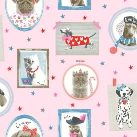 Arthouse Hall Of Fame Picture Frame Pattern Animal Cat Dog Glitter Wallpaper 668401