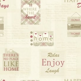 Arthouse Happy Days Home Heart Pattern Check Motif Metallic Vinyl Wallpaper 888602