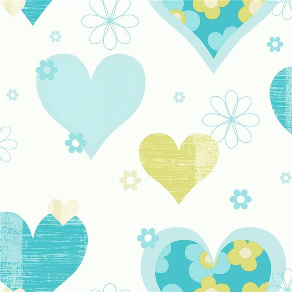 Arthouse happy hearts flowers luxury girls childrens kids for Childrens wallpaper